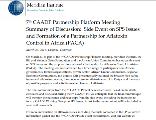 CAADP PP - Draft PACA Agenda | PACA